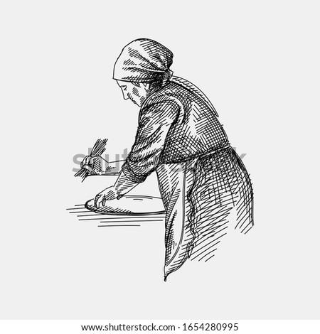 Hand drawn sketch of azeri woman making tandir bread, pita or pide bread dough. Old woman. The making of tandir bread