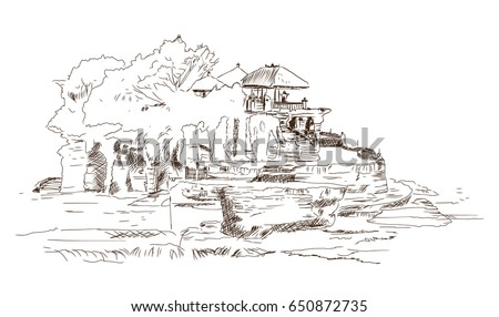 hand drawn sketch of bali