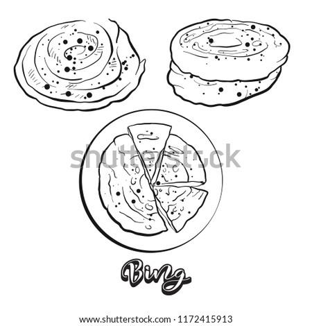 hand drawn sketch of bing bread