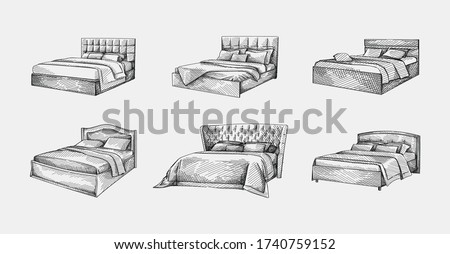 Hand-drawn sketch of double bed with simple headboard. Bed with coverlid and pillows. Bedroom furniture. Cozy and decorative bedding style.