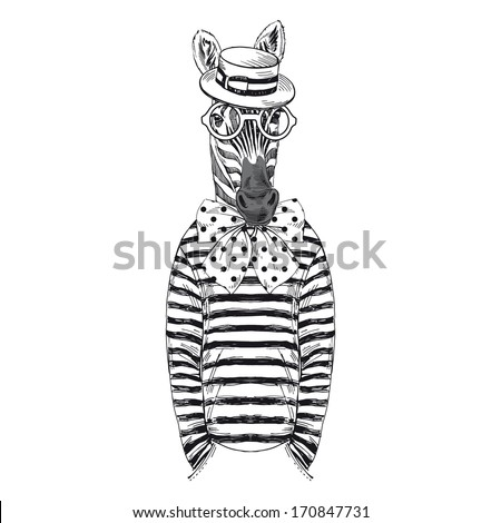 Hand drawn sketch of dressed up zebra isolated on white