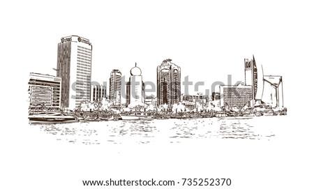 Hand drawn sketch of Dubai crick Abra in vector Illustrator. Dubai United Arab Emirates.