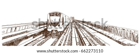 Hand drawn sketch of Dubai Metro in vector illustration