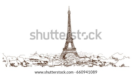 hand drawn sketch of eiffel