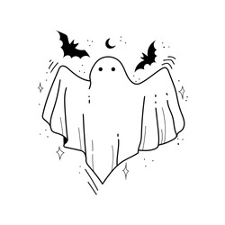 Hand drawn sketch of ghost isolated on white background. Happy Halloween. Scary white ghosts. Cute cartoon spooky character. Greeting card. Vector illustration for posters, decoration and print.