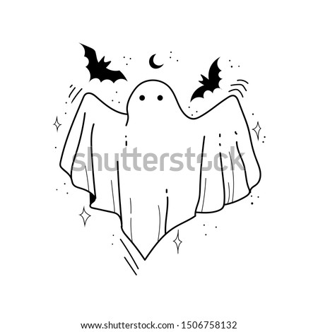Hand drawn sketch of ghost isolated on white background. Happy Halloween. Scary white ghosts. Cute cartoon spooky character. Greeting card. Vector illustration for posters, decoration and print. Foto d'archivio ©