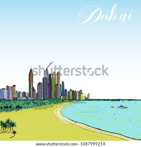 Hand drawn sketch of monorail ride view from window at The Palm Jumeirah skyscrapers at Dubai Marina. Media City and beach coast with luxury yachts and sand beaches at United Arab Emirates. Vector.