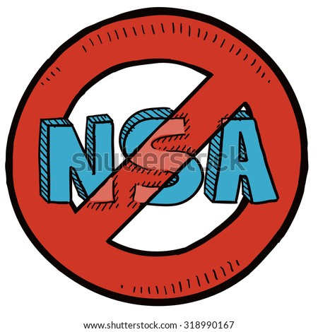 Hand drawn sketch of National Security Agency (NSA) with red no symbol around it indicating opposition to surveillance, wiretapping, and cameras.