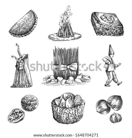 Hand-drawn sketch of Novruz holiday attributes. Shekerbura, Pakhlava, Samani, Hat full of pastries, Girl dancing in national clothes, Kosa