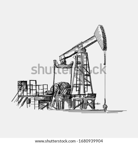 Hand-drawn sketch of oil pump for oil extracting. The main industry of Azerbaijan oil extracting. Oil and gas production