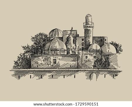 Hand-drawn sketch of Palace of the Shirvanshahs. Shirvanshahs saray. Azerbaijan's architecture of 15th century.