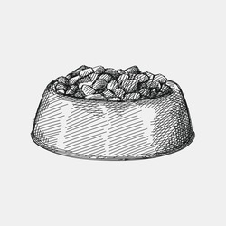 Hand-drawn sketch of Pet Food Bowl on a white background. Bowl with food for dogs or cats. Pet supplies. Care for home animals.