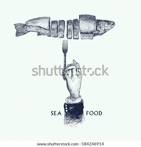 hand drawn sketch of seafood...