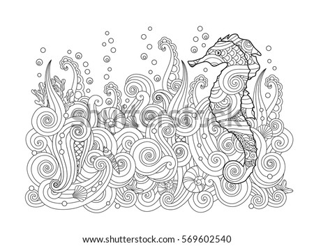 Hand Drawn Sketch Of Seahorse Under The Sea In Zentangle Inspired Style Coloring Book For Mermaid Pattern Seamless