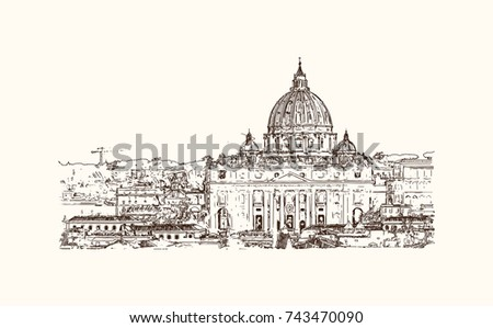 hand drawn sketch of st peter
