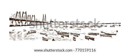 hand drawn sketch of the bandra