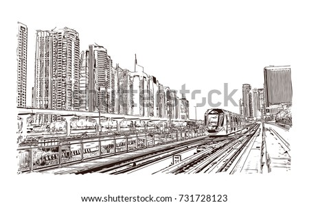 Hand drawn sketch of Tram service in the city of Dubai in vector illustration.