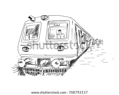 Hand drawn sketch of Unidentified locals and tourists commute by train in Mumbai, India. Mumbai Suburban Railway carries more than 7 million commuters on a daily basis. Vector illustration.