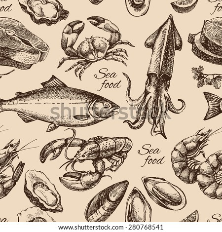 hand drawn sketch seafood
