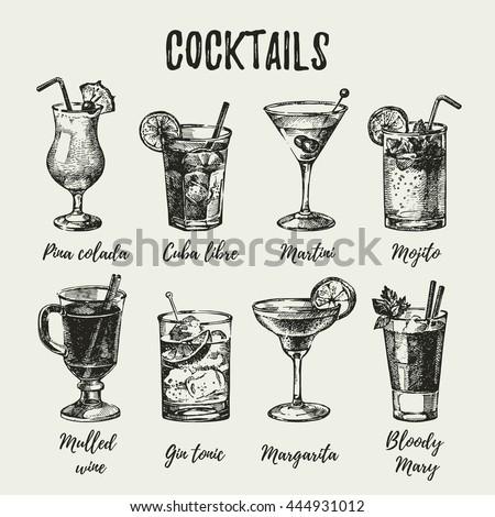 Hand drawn sketch set of alcoholic cocktails. Vintage vector illustration