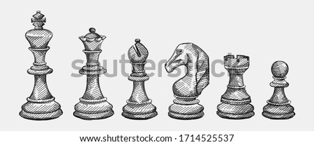 Hand-drawn sketch set of Chess pieces on a white background. Chess. Check mate. King, Queen, Bishop, Knight, Rook, Pawn Photo stock ©