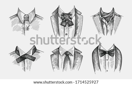 Hand-drawn sketch set of collars with ties on a white background. Collar with no tie, bow tie and brooch pin,  collar with cravat neckerchief, continental tie, simple traditional tie with no patterns