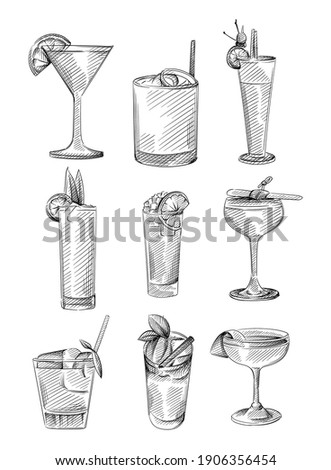 Hand drawn sketch set of drinks in cocktail glasses. Alcohol beverages. Cocktail drink in highball glass, champagne saucer, rocks, shot glass, zombie glass, balloon wine, martini glass
