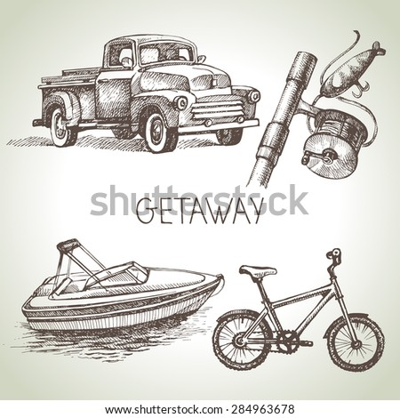 Hand drawn sketch set of family vacation. Vector illustration