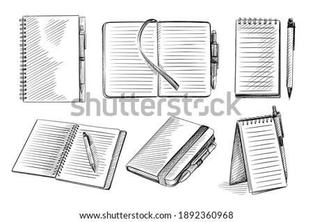 Hand drawn sketch set of notebooks on a white background. Opened notebook, notebook with pen, sketchbook, spring notebook, dairy, dot grid notebook