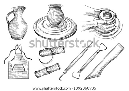 Hand drawn sketch set of pottery, ceramics tools. Pottery jug, hands doing pottery, jug on pottery wheel, apron, clay cutting, clay string, needle tool for ceramics, clay loop, wood modelling tool Foto stock ©