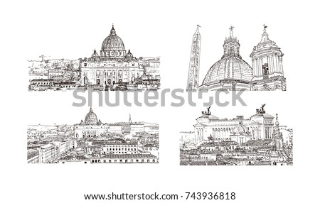 hand drawn sketch set of rome...