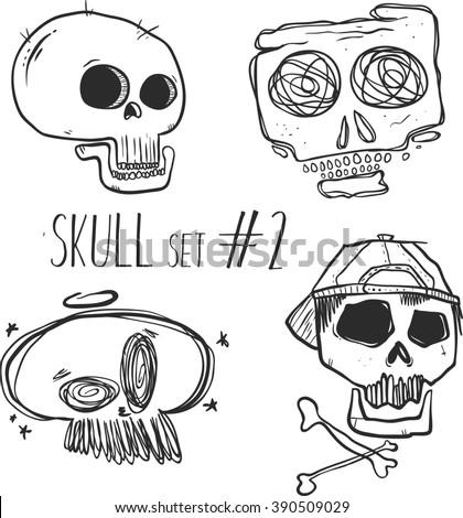 hand drawn sketch skull