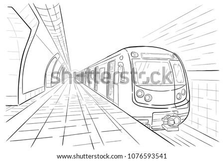 Hand drawn sketch subway station