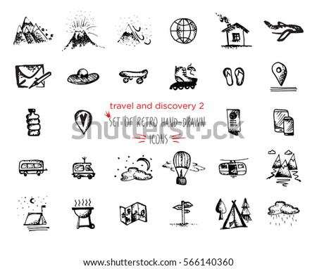 Hand-drawn sketch Travel and vacation icon collection. Vector illustrations Black on white background