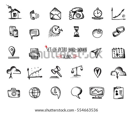 Hand-drawn sketch web icon set - economy, finance, seo, marketing. Vector illustrations