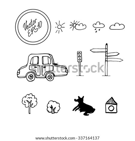 Hand drawn sketch with collection of elements for city landscape: weather icons with sun, cloud and rain, car, traffic light, direction, tree, bush, dog and small dog house. Vector illustration.