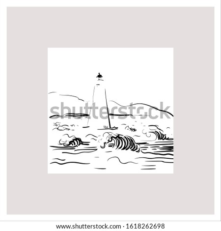 Hand drawn sketche of sea view and lighthouse