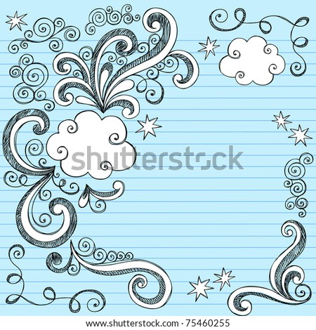 Hand-Drawn Sketchy Clouds and Swirls Notebook Doodles- Design Elements on Lined Paper Background- Vector Illustration