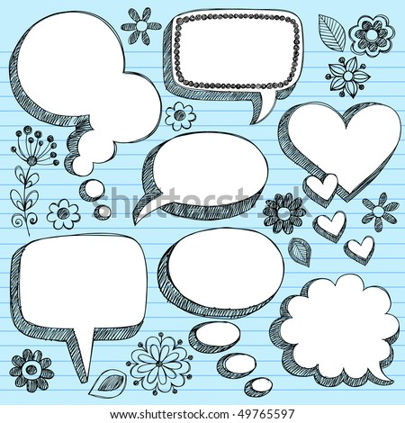 Hand-Drawn Sketchy 3-D Shaped Comic Book Style Speech Bubbles- Notebook Doodles on Blue Lined Paper Background- Vector Illustration