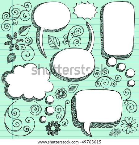 Hand-Drawn Sketchy 3D Shaped Comic Book Style Speech Bubbles- Notebook Doodles on Green Lined Paper Background- Vector Illustration