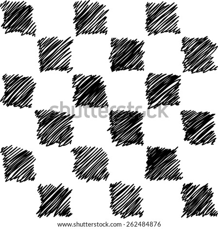 hand drawn sketchy doodle chess