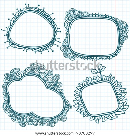 Hand-drawn sketchy doodle frames on a caged paper background
