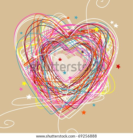 stock vector : hand drawn sketchy & doodle heart
