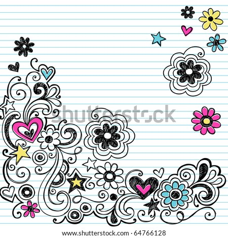 Hand-Drawn Sketchy Marker Notebook Doodle Design Elements on White Lined Sketchbook Paper Background- Vector Illustration