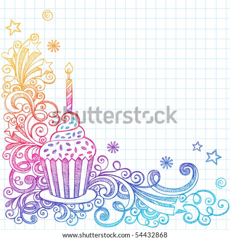 Hand-Drawn Sketchy Ornate Cupcake Doodle Page Border- Notebook Doodles ...
