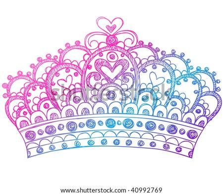 Sketchy royalty princess crown notebook doodles vector illustration