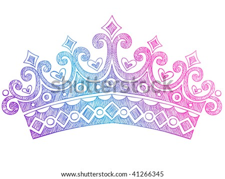Hand-Drawn Sketchy Royalty Princess Queen Crown Notebook Doodles Vector Illustration