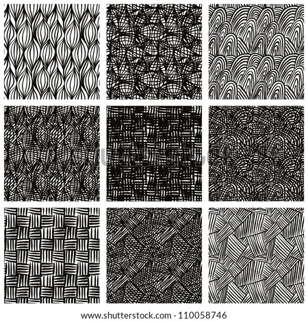 Hand drawn sketchy seamless patterns set, vector backgrounds collection.