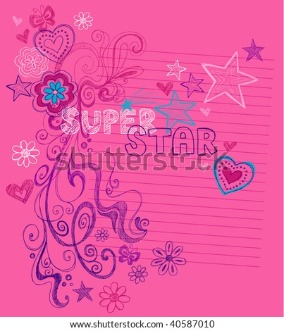Hand-Drawn Sketchy Super Star Doodles Vector Illustration with Stars, Hearts, and Swirls on Lined Notebook Paper Background