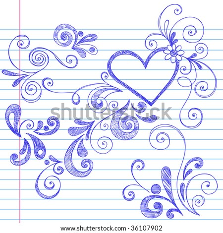 Hand-Drawn Sketchy Swirls and Curls Doodles on Lined Notebook Paper - stock vector